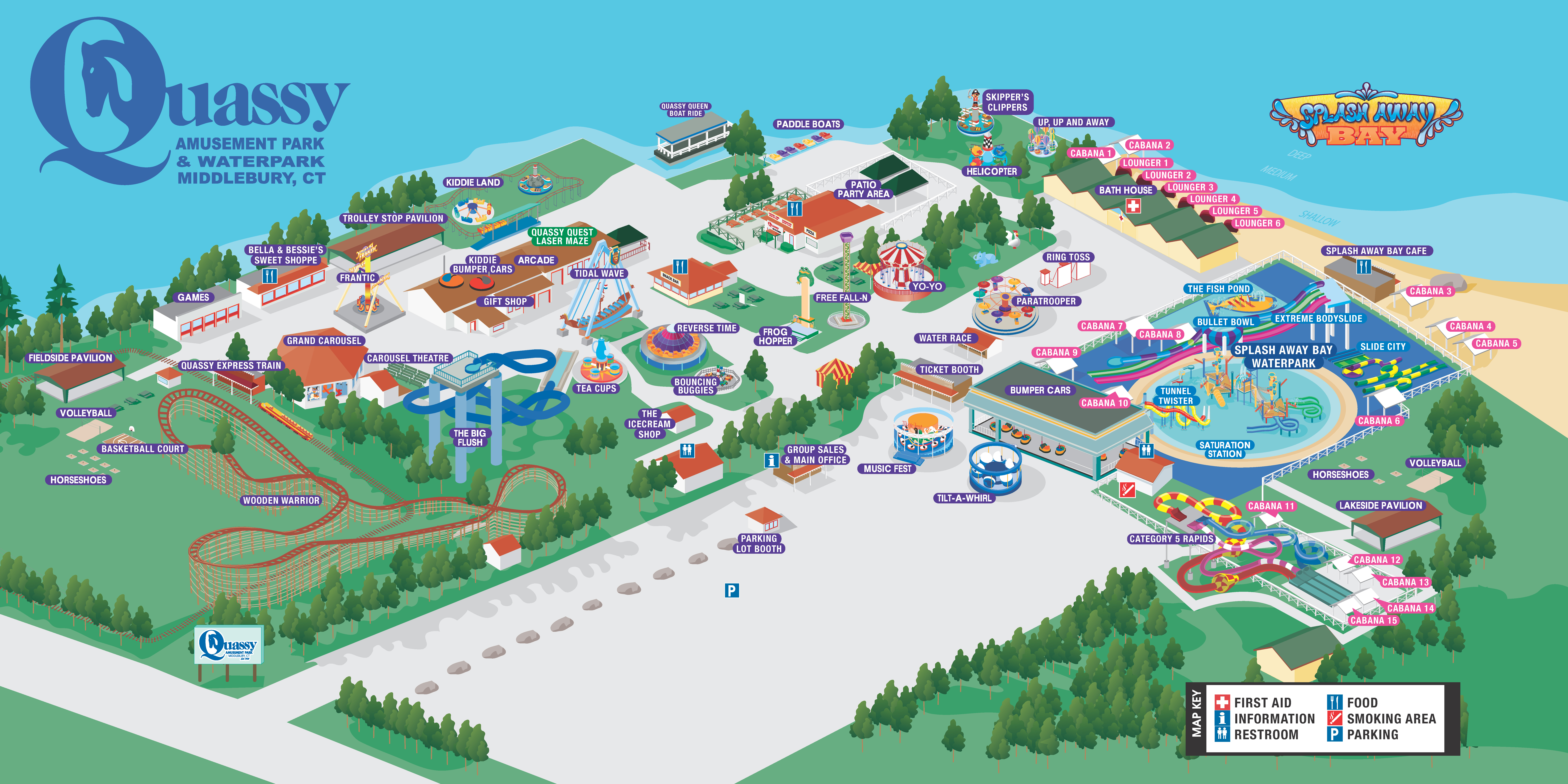 Map of Quassy Amusement Park